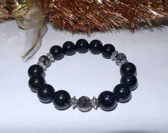Bluesand, grey spider agate, stretchable bracelet