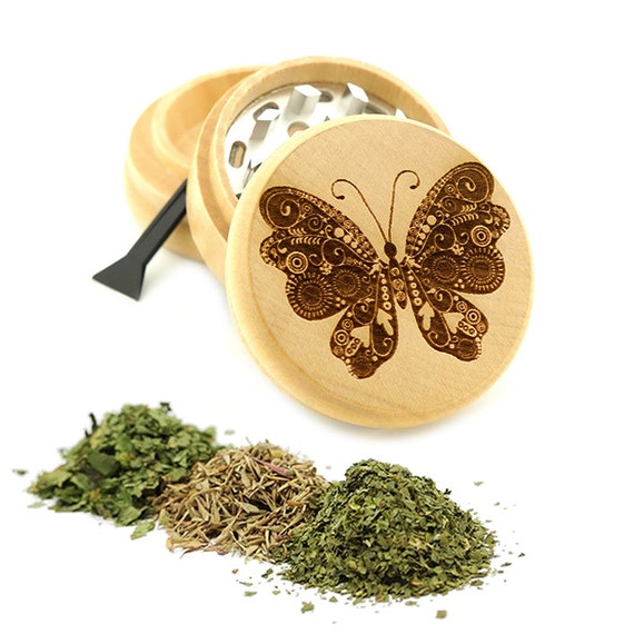Butterfly Tattoo Engraved Premium Natural Wooden Grinder Item # PW7116-10
