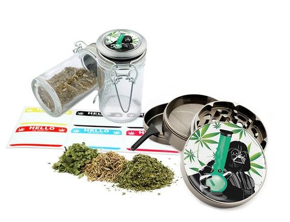 """Star Leaf Bong - 2.5"""" Zinc Alloy Grinder & 75ml Locking Top Glass Jar Combo Gift Set Item # G50120915-19"""