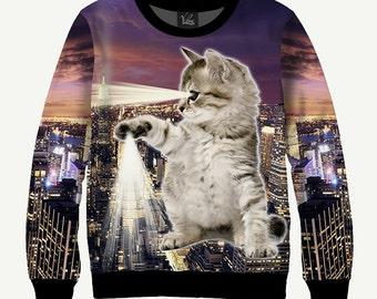 Cat & Skyscrapers - Men's Women's Sweatshirt | Sweater - XS, S, M, L, XL, 2XL, 3XL, 4XL, 5XL