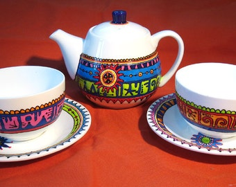 Bright Tea Set for two, Hand painted with hippy design