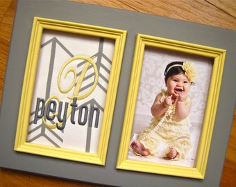Custom baby girl 5x7 frame Personalized girl frame Yellow & gray nursery decor Girl name frame Baby girl shower gift Girl personalized frame