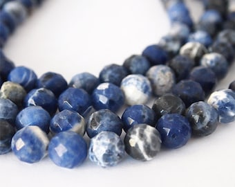 Strand Sodalite Natural Gemstone Facet Round Blue Size 10mm QTY 37 Beads
