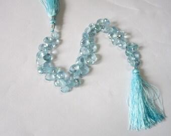 Aquamarine Faceted Hearts