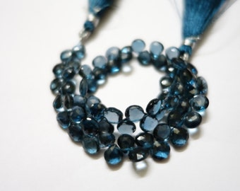 10 Pieces Of London Blue Topaz Faceted Hearts