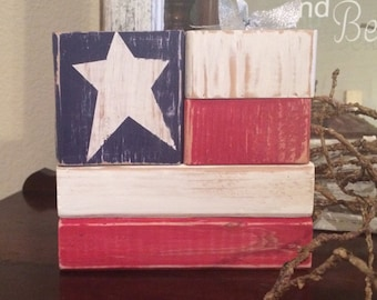 Patriotic 4th of July USA flag Americana blocks
