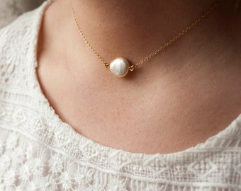 Sterling silver Necklace freshwater pearl gold filled chain
