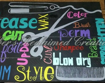 Beauty Salon pallet sign, hair dresser decor, cosmetology hand painted wooden picture, hairstylist beauty shop decor