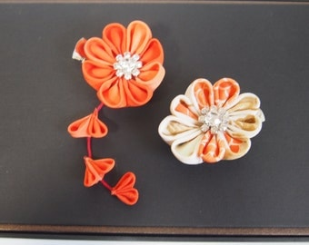 Japanese hair clip/Kanzashi /Tsumami zaiku/flower/orange