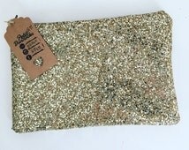 Pale gold glitter clutch party make up evening bag