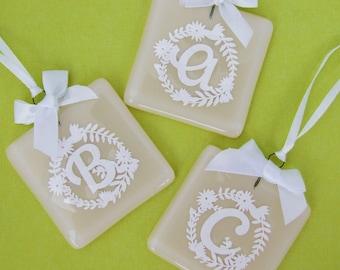 Handmade Alphabet Letter Glass & Papercut Keepsake Wedding Favour by Jessica Irena Smith