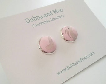 Scandi style marble pastel pink and silver stud earrings