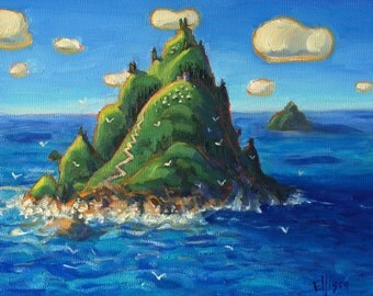 Island Seascape Original Oil Painting Wall Art