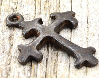 Cross Charm, 2, Antiqued Cross, Pendant, Rosary, Rustic Brown Cross, Patina Cross, Spanish Cross, Crucifix