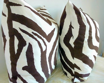 Brown and white ZEBRA print pillow cover, Safari zebra pillow, brown and white zebra cushion, Safari decor, zebra decor, brown zebra pillow