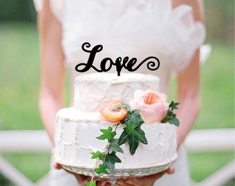Love Wedding Cake Topper - Personalized Cake Topper - Custom cake topper - Wood cake topper