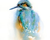 Bird Print, Watercolor Abstract Painting of Kingfisher, Gift for Bird Lovers, Woodland Decor for Country Cottage, Teal Blue Wall Art