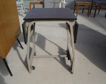 Vintage Typewriter Stand Cart Table with Fold Down Leaves, Wheels