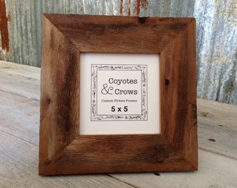 5x5 rustic picture frame reclaimed wood picture frame 5x5 barn wood frame rustic frame 5x5 photo frame 5x5 square picture frame