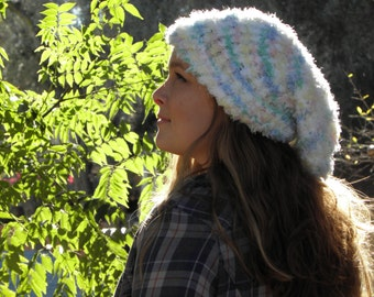 Hand Loom Knit Beanie Shimmer pink/green/yellow/blue/white (Item #16)