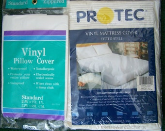 Vintage Vinyl Full Mattress Cover and Standard Pillow Cover - NIP