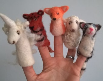 Whole wool felted finger toys, hand made.