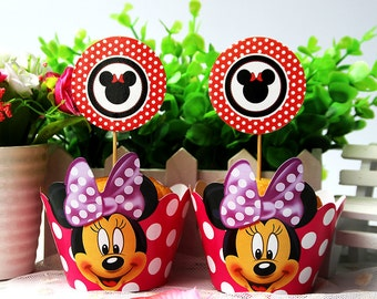 Minnie Mouse Wrapper & Cupcake Toppers - Set of 12 - Perfect for your next Minnie Mouse Party!
