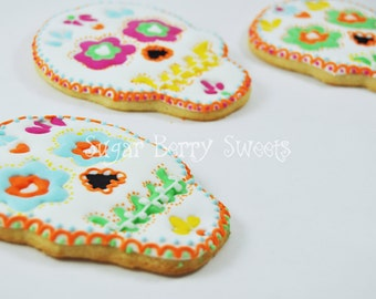 Sugar Skull decorated Large sugar cookies  - 1/2 Dozen - perfect halloween - dia de los muertos - day of the dead - party gift - cute