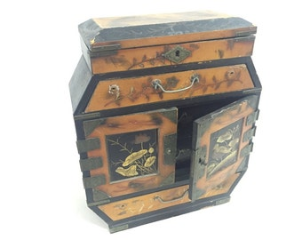 Japanese four drawers Lacquered and enamel Jewellery Box
