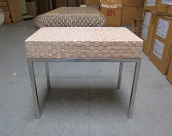 Water Hyacinth bench in bleach white with stainless steel legs