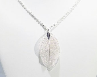 Sterling Silver Leaf, Silver Leaf Necklace, Real Leaf Necklace, Nature Jewelry, Sterling Silver Pendant, Electroplated Leaf, Silver Leaf
