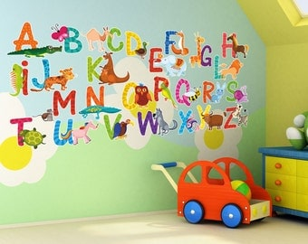 26 Individual Alphabet Animals Self-adhesive Wall Art Stickers (14cm Letters)