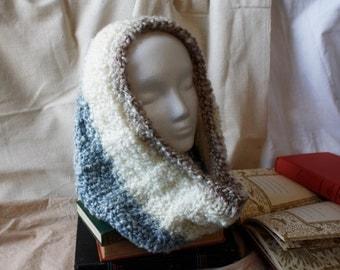 Blue/Cream/Cocoa Circular Cowl Scarf, Knit Scarf, Knit Infinity Scarf,  Knit Cowl Scarf, Hood Loop, Circle Scarf, Knit Neck Warmer, Buff