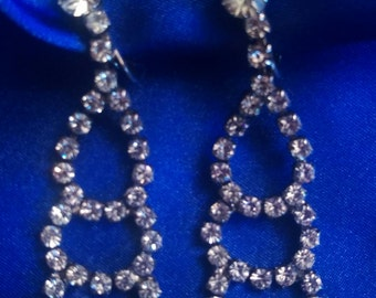 Vintage Rhinestone Chandelier Clip Earrings