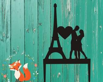 Eiffel Tower Couple Wedding Cake Topper - Eiffel Tower Wedding Cake Topper - Acrylic Wedding Cake Topper