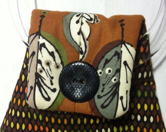 Handmade 'Rebecca' trendy bag from upcycled and new materials brown burgundy retro