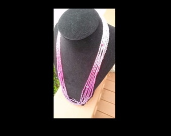 Handmade 6 strand Purple-fuchsia-pink-clear-white ombre seed bead necklace w/Swarovski elements & magnetic clasp
