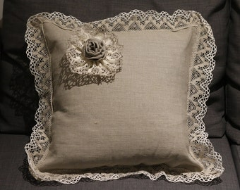 Natural Linen Cushion-Pillow with lace decoration