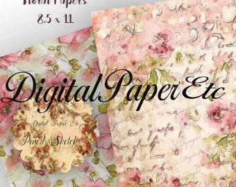 Floral Digital Papers, Floral Pencil Sketch, Waterclor Flowers,  Scrapbooking,  Florals,  Decoupage,  Instant Download, P 122