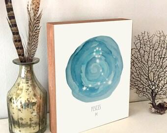 Pisces Art - Pisces Constellation - Pisces Print - Horoscope Art - Constellation Print - Wood Art Print