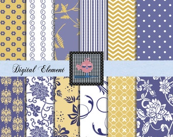 Digital Yellow and Blue Paper, Digital Scrapbook Yellow and Blue Paper, Floral Paper, Blue and Yellow Floral, Yellow Floral Paper. No. V.5.6