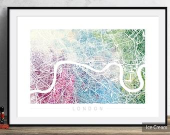 London Map - City Street Map of London England  - Art Print Watercolor Illustration Wall Art Home Decor Gift - Embossed PRINT