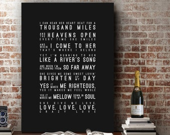Van Morrison Crazy Love Inspired Lyrics Music Wall Art Song Lyrics Home Decor Anniversary Gift Wedding Gift Typography Lyric PRINT