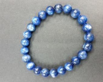 Kyanite 9mm Stretch Bracelet , Blue Kyanite gemstone