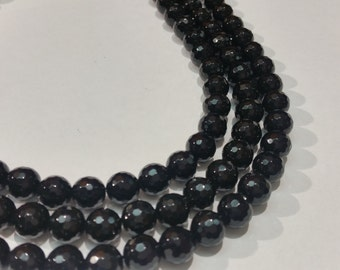 8mm Black Onex Round Faceted Length 15 Inch
