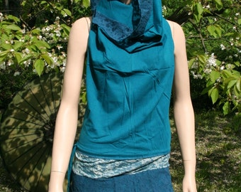 Tunic minidress hooded dress hood psy goa gipsy ethnic boho patchwork teal dark turquoise brown olivgreen red black S M L