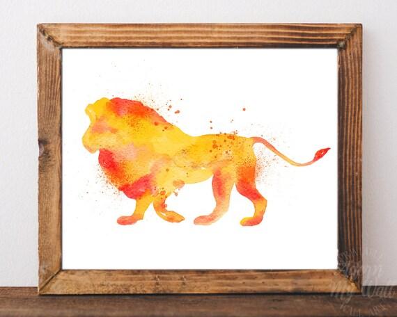 Lion Print Watercolor Lion Lion Wall Art Lion Nursery Art