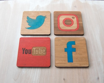 Social Media Coasters - Set of 4