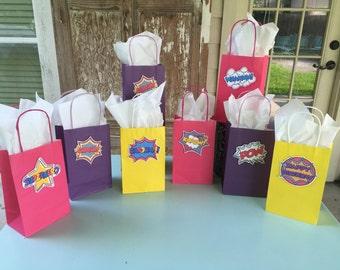 Super Hero Party, Super Hero Party Bags, Super Hero Word Bubbles, Super Hero Birthday, Super Hero Party, Super Hero Favors, Set of 8
