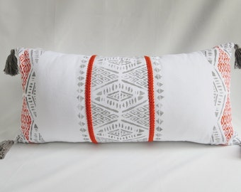Global Inspired, Throw Pillow, Tassels ,Orange,Gray, Embroidered trim, Rustic Modern, Boho decor,Block Printed,Triangles, White cotton,